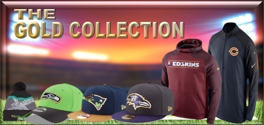 The Super Bowl is turning 50 this year.  The NFL is celebrating by unveiling their Gold Collection.  Bleacher Bums carries NFL Gold hats, knit hats, sweats, hoodies, and jackets.