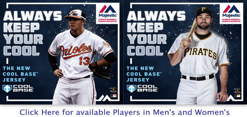 The new Majestic Cool Base replica jerseys are in stock.  The new cool base jersey features a moisture wicking fabric that wicks away sweat to help keep you cool and dry.  Bleacher Bums offers men's and women's styles.  Bleacher bums can special order any current roster player.  Bleacher Bums offers free shipping on all orders over $100.