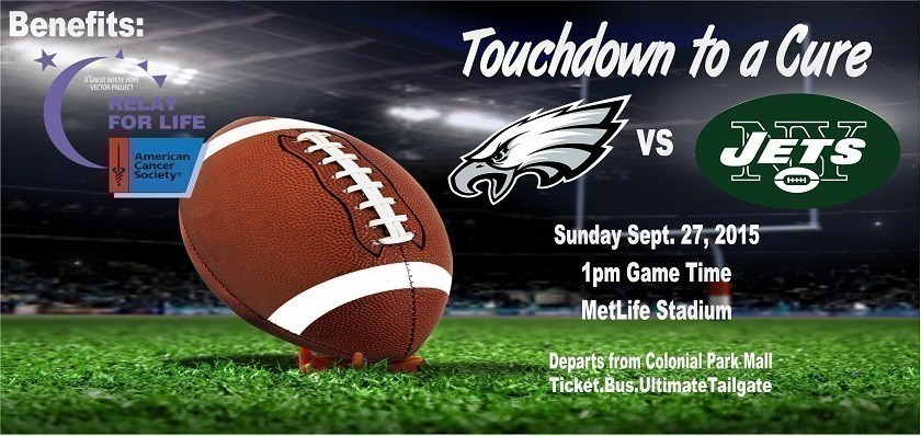 Philadelphia Eagles vs. New York Jets bus trip.  Bus trip to MetLife stadium to benefit the American Cancer Society.  Includes transportation, game ticket, and the Ultimate tailgate pre-game party.