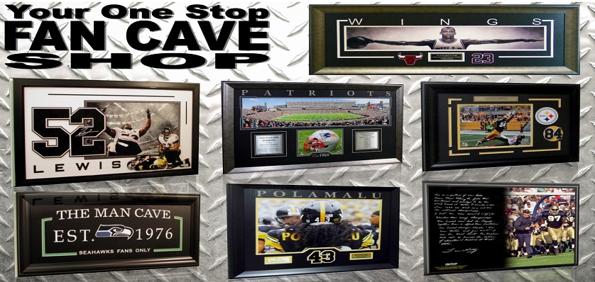 Bleacher Bums carries framed sports memorabilia.  Signed and unsigned framed sports memorabilia.  Bleacher Bums carries items from top companies like, Steiner Sports, Worldwide Memorabilia, sportula, prints charming and Mounted Memories.  Every piece that is signed by the athlete is verified authentic.  Most pieces are JSA authenticated.